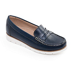 Padders - Navy leather 'Nola' wide fit moccasins