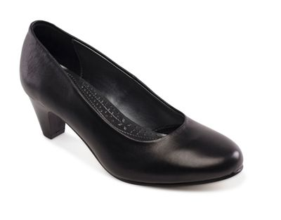 Padders - Black leather 'Jane' mid heel wide fit court shoes