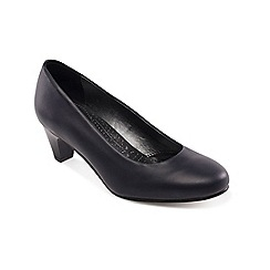Padders - Navy leather 'Jane' mid heel wide fit court shoes