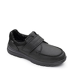 Padders - Black leather 'Trek' wide fit shoes