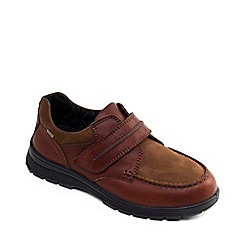 Padders - Tan leather 'Trek' wide fit shoes