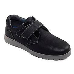 Padders - Black leather 'Restart' wide fit shoes