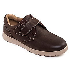 Padders - Brown leather 'restart' wide fit shoes