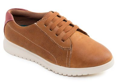 Padders - Tan leather 'Re Run' wide fit shoes