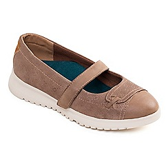 Padders - Taupe leather 'Request' mid heel wide fit Mary Janes