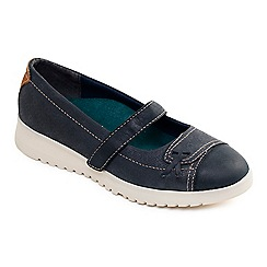 Padders - Navy leather 'Request' mid heel wide fit Mary Janes