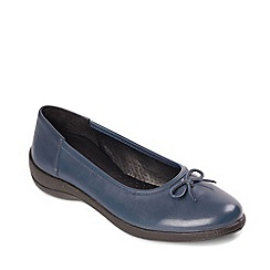 Padders - Navy leather 'roxy' mid heel wide fit pumps