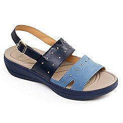 Padders - Navy leather 'Cameo' mid heel wide fit slingbacks