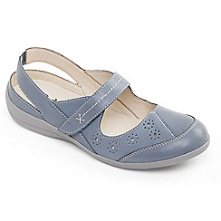 Padders - Light blue leather 'Donna 2' wide fit slingbacks shoes