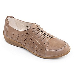 Padders - Camel leather 'Darcy 2' wide fit shoes