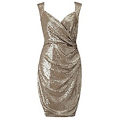 Ariella London - Light gold sequined 'Florence' evening dress