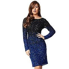 Ariella London - Black blue 'Lucie' ombre beaded knee length dress