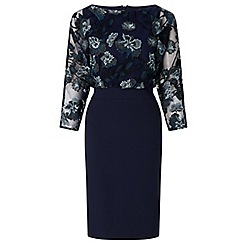 Ariella London - Navy 'Lani' embroidered batwing shift dress