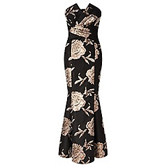Ariella London - Black 'Elenora' strapless jacquard fishtail maxi dress