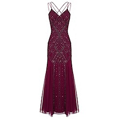 Ariella London - Berry 'Perla' maxi embellished dress