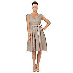 Ariella London - Pale grey lace 'Faye' fit and flare dress