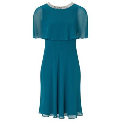Ariella London Teal \'Harmony\' chiffon fit and flare dress   Debenhams