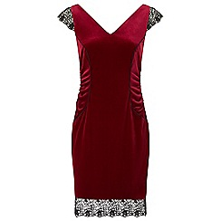 Ariella London - Red 'Tiana' velvet lace pencil dress