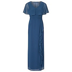 Ariella London - Blue 'Amaris' chiffon cape maxi dress