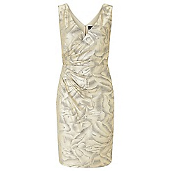 Ariella London - Gold 'Dolce' foil printed jersey wrap dress
