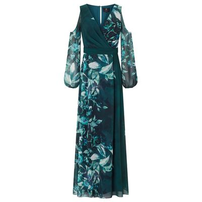 Ariella London Teal Aliana Printed Cold Shoulder Dress