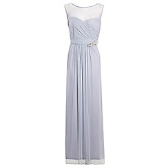 Ariella London - Lilac 'Tonia' mesh maxi dress with diamante brooch
