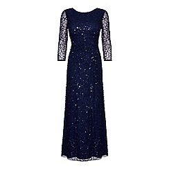 Ariella London - Navy 'Hali' beaded 3/4 sleeve drape maxi dress
