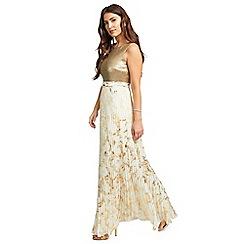 Ariella London - Gold 'Leia' sequin bodice pleated maxi dress