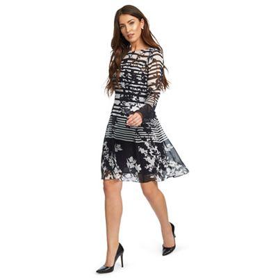 b378e08bc17 Ariella London - Black and white  Cassia  floral stripe print shift dress