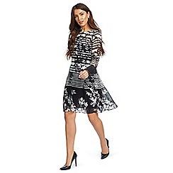 Ariella London - Black and white 'Cassia' floral stripe print shift dress