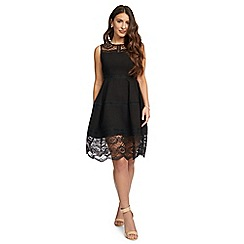 Ariella London - Black 'Zandra' lace panelledknee length dress