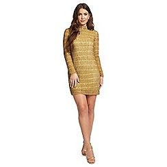 Ariella London - Gold 'Talli' sequin high neck mini dress