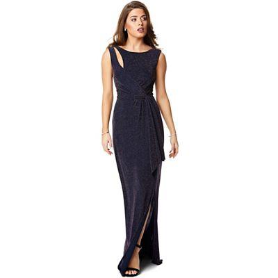 51a00daba295 Ariella London Navy rose gold  Jaina  lurex jersey drape knot front maxi  dress