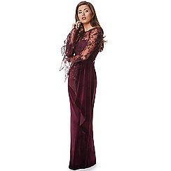 Ariella London - Burgundy 'Ivona' embroided bodice and velvet maxi dress