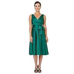 Ariella London - Dark green satin 'Belladonna' fit and flare dress