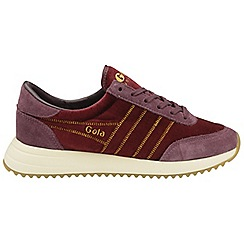 Gola Classics - Burgundy 'Montreal velvet' ladies lace up trainers