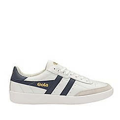 Gola Classics - White and navy and white 'Inca leather' mens trainers