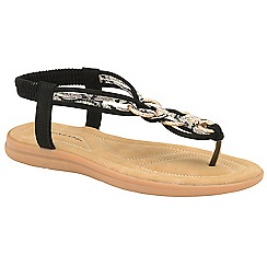 Dunlop - Black 'Nikita' ladies toe post sandals
