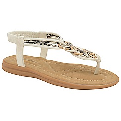 Dunlop - White 'Nikita' ladies toe post sandals