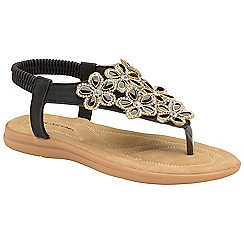 Dunlop - Black 'Jaden' ladies toe post sandals
