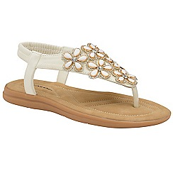 Dunlop - White 'Jaden' ladies toe post sandals