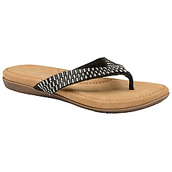 Dunlop - Black 'Lucia' ladies toe post sandals
