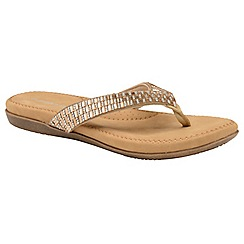 Dunlop - Rose Gold 'Lucia' ladies toe post sandals