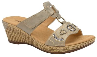 Dunlop - Pewter 'Linda' ladies wedge sandals