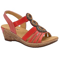 Dunlop - Metallic Red 'Hazel' ladies wedge sandals