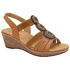 Dunlop - Tan 'Hazel' ladies wedge sandals