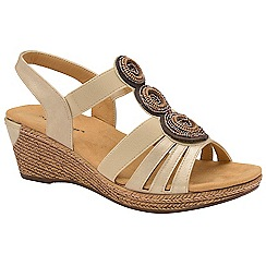 Dunlop - Pale Gold 'Hazel' ladies wedge sandals