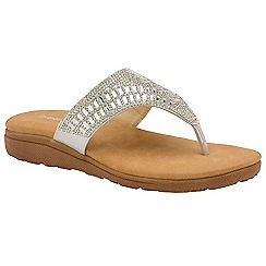 Dunlop - Silver 'Aura' ladies toe-post sandals