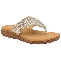 Dunlop - Rose Gold 'Aura' ladies toe-post sandals