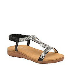 Dunlop - Black & silver 'Cynthia' ladies flat sandals